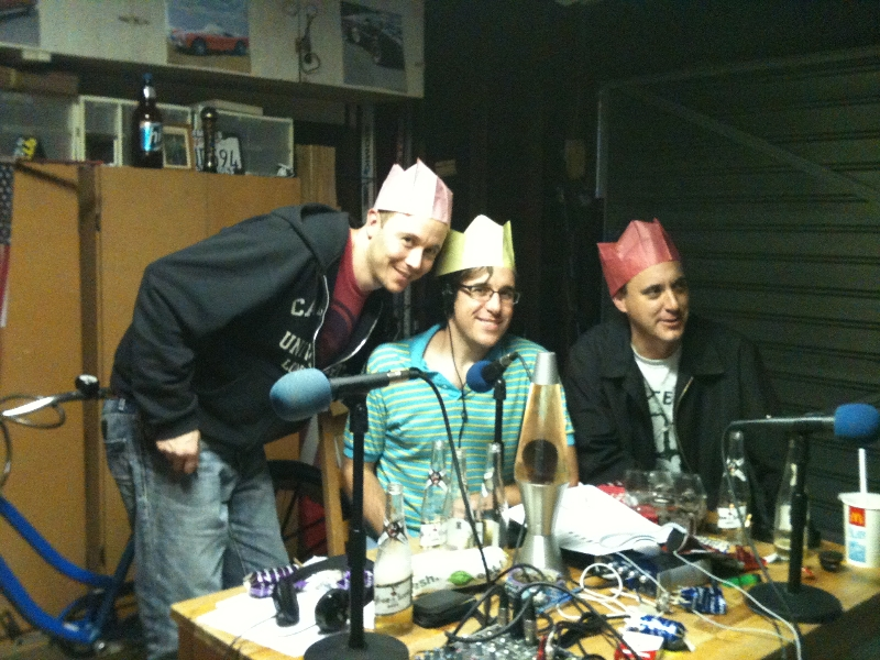 Tod, Elliott and Buck in silly-ass Christmas hats