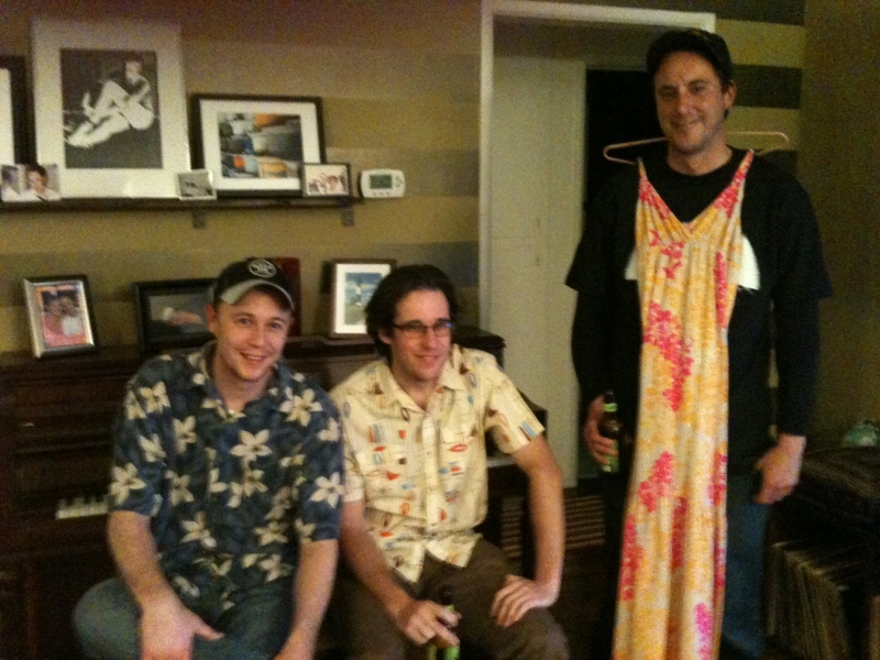 Tod, Elliott and Buck go Hawaiian in Tod's livingroom
